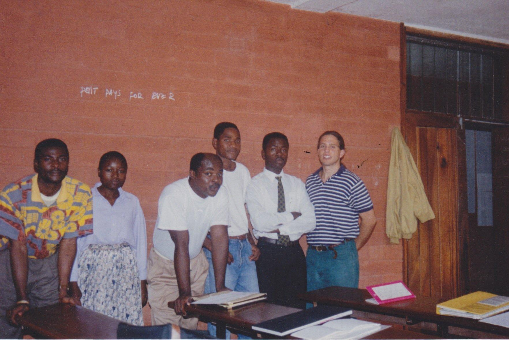 Professor ABEGA Sevérin Cécile, with his students (left to right): Oumarou GBETNKOM, Josephine NSIA, George AKWAH NEBA, Rebecca MVOTO NANGA.