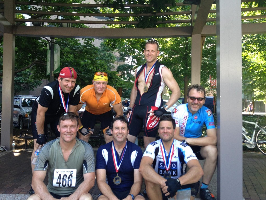 "Post ride pic from last year, left to right: Phil the Hill, Bill ""Orange"" Berlin, Steve Cahill, and Ron Paletzki; bottom: Bill Mowery, Jay Stanley (who won), and me."