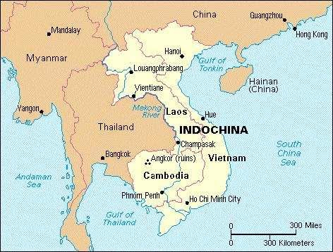 Indochina map Vietnam